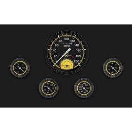 "Classic Instruments 5 Gauge Set - 4 5/8"" Speedtachular, 2 1/8"" Full Sweep FOTV - AutoCross Yellow Series - AX165YBLF"