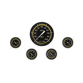 "Classic Instruments 5 Gauge Set - 4 5/8"" Speedo, 2 1/8"" Full Sweep FOTV - AutoCross Yellow Series"