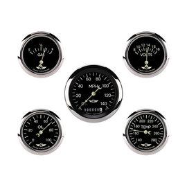 "Classic Instruments 5 Gauge Set - 3 3/8"" Speedo, 2 5/8"" Short Sweep FOTV - Classic Series - CL900SRC"