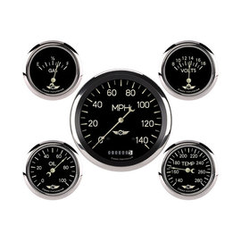 "Classic Instruments 5 Gauge Set - 4 5/8"" Speedo, 2 5/8"" Short Sweep FOTV - Classic Series - CL954SRC"