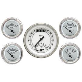 "Classic Instruments 5 Gauge Set - 3 3/8"" Ultimate Speedo, 2 1/8"" Short Sweep FOTV - Classic White Series -CW35SLF"
