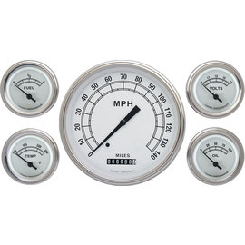 "Classic Instruments 5 Gauge Set - 4 5/8"" Speedo, 2 1/8"" Short Sweep FOTV - Classic White Series - CW54SLF"