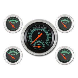 """Classic Instruments 5 Gauge Set - 4 5/8"""" Speedtachular, 2 1/8"""" Short Sweep FOTV - G-Stock Series - GS65SLF"""