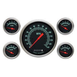 """Classic Instruments 5 Gauge Set - 4 5/8"""" Speedo, 2 1/8"""" Short Sweep FOTV - G-Stock Series"""