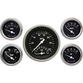 "Classic Instruments 5 Gauge Set - 3 3/8"" Ultimate Speedo, 2 1/8"" Short Sweep FOTV - Hot Rod Series -HR35SLF"