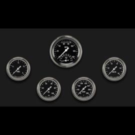 "Classic Instruments 5 Gauge Set - 3 3/8"" Ultimate Speedo, 2 5/8"" Full Sweep FOTV - Hot Rod Series - HR335SLF"