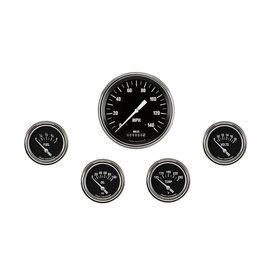 "Classic Instruments 5 Gauge Set - 4 5/8"" Speedo, 2 5/8"" Short Sweep FOTV - Hot Rod Series"