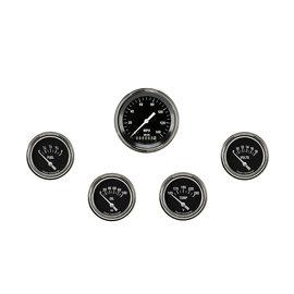 "Classic Instruments 5 Gauge Set - 3 3/8"" Speedo, 2 5/8"" Short Sweep FOTV - Hot Rod Series"