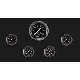 "Classic Instruments 5 Gauge Set - 3 3/8"" Ultimate Speedo, 2 1/8"" Full Sweep FOTV - Hot Rod Series - HR135SLF"