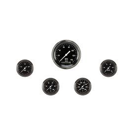"Classic Instruments 5 Gauge Set - 3 3/8"" Speedo, 2 1/8"" Full Sweep FOTV - Hot Rod Series"