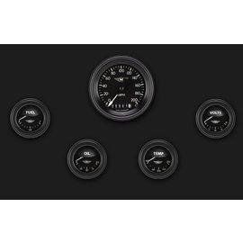 "Classic Instruments 5 Gauge Set - 3 3/8"" Speedo, 2 1/8"" Short Sweep FOTV - Moal Bomber Series - MA00BLF"