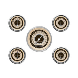 "Classic Instruments 5 Gauge Set - 3 3/8"" Speedo, 2 1/8"" Short Sweep FOTV - Nostalgia Series - NT00SHC"