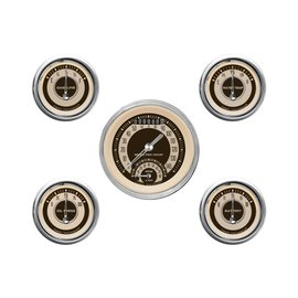 "Classic Instruments 5 Gauge Set - 3 3/8"" Ultimate Speedo, 2 1/8"" Short Sweep FOTV - Nostalgia Series -NT35SHC"
