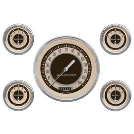 "Classic Instruments 5 Gauge Set - 4 5/8"" Speedo, 2 1/8"" Short Sweep FOTV - Nostalgia Series - NT54SLC"
