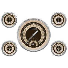"Classic Instruments 5 Gauge Set - 4 5/8"" Speedtachular, 2 1/8"" Short Sweep FOTV - Nostalgia Series - NT65SLC"