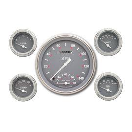 "Classic Instruments 5 Gauge Set - 4 5/8"" Speedtachular, 2 1/8"" Short Sweep FOTV - Silver Gray Series - SG65SLF"