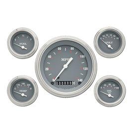 "Classic Instruments 5 Gauge Set - 4 5/8"" Speedo, 2 1/8"" Short Sweep FOTV - Silver Gray Series - SG54SLF"