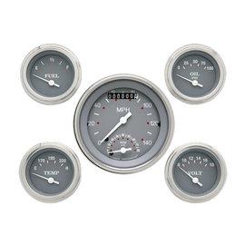 "Classic Instruments 5 Gauge Set - 3 3/8"" Ultimate Speedo, 2 1/8"" Short Sweep FOTV - Silver Gray Series -SG35SLF"