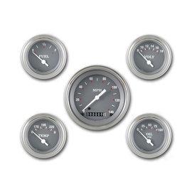 "Classic Instruments 5 Gauge Set - 3 3/8"" Speedo, 2 1/8"" Short Sweep FOTV - Silver Gray Series - SG00SLF"