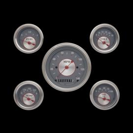 "Classic Instruments 5 Gauge Set - 3 3/8"" Speedo, 2 1/8"" Short Sweep FOTV - Silver Series - SS00SLF"