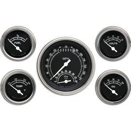 "Classic Instruments 5 Gauge Set - 3 3/8"" Ultimate Speedo, 2 1/8"" Short Sweep FOTV - Traditional Series -TR35SLF"