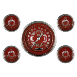 """Classic Instruments 5 Gauge Set - 4 5/8"""" Speedo, 2 1/8"""" Short Sweep FOTV - V8 Red Steelie Series - V8RS54SLC"""