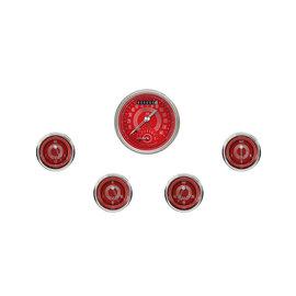 """Classic Instruments 5 Gauge Set - 3 3/8"""" Ultimate Speedo, 2 1/8"""" Short Sweep FOTV - V8 Red Steelie Series - V8RS35SHC"""