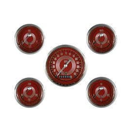 "Classic Instruments 5 Gauge Set - 3 3/8"" Speedo, 2 1/8"" Short Sweep FOTV - V8 Red Steelie Series - V8RS00SHC"