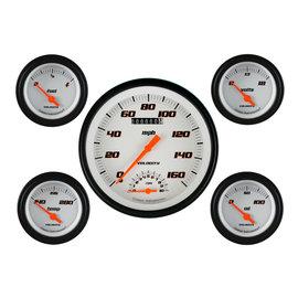"Classic Instruments 5 Gauge Set - 4 5/8"" Speedtachular, 2 1/8"" Short Sweep FOTV - Velocity White Series - VS65WBLF"