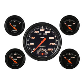 "Classic Instruments 5 Gauge Set - 4 5/8"" Speedtachular, 2 1/8"" Short Sweep FOTV - Velocity Black Series - VS65BBLF"