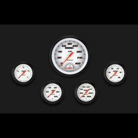 "Classic Instruments 5 Gauge Set - 4 5/8"" Speedtachular, 2 5/8"" Full Sweep FOTV - Velocity White Series - VS365WBLF"