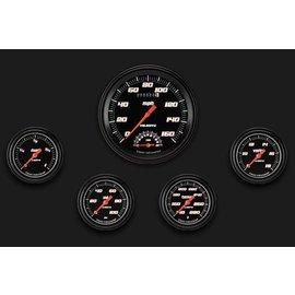 "Classic Instruments 5 Gauge Set - 4 5/8"" Speedtachular, 2 5/8"" Full Sweep FOTV - Velocity Black Series - VS365BBLF"