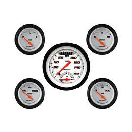 "Classic Instruments 5 Gauge Set - 3 3/8"" Ultimate Speedo, 2 1/8"" Short Sweep FOTV - Velocity White Series -VS35WBLF"