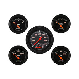 "Classic Instruments 5 Gauge Set - 3 3/8"" Ultimate Speedo, 2 1/8"" Short Sweep FOTV - Velocity Black Series -VS35BBLF"