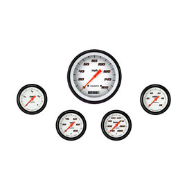 "Classic Instruments 5 Gauge Set - 4 5/8"" Speedo, 2 5/8"" Full Sweep FOTV - Velocity White Series"