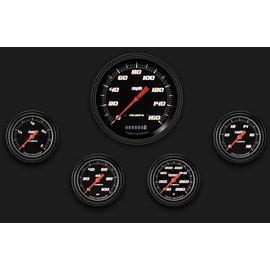 "Classic Instruments 5 Gauge Set - 4 5/8"" Speedo, 2 5/8"" Full Sweep FOTV - Velocity Black Series"