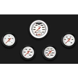 "Classic Instruments 5 Gauge Set - 3 3/8"" Ultimate Speedo, 2 5/8"" Full Sweep FOTV - Velocity White Series - VS335WBLF"