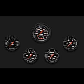 "Classic Instruments 5 Gauge Set - 3 3/8"" Ultimate Speedo, 2 5/8"" Full Sweep FOTV - Velocity Black Series - VS335BBLF"