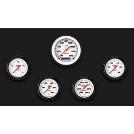 "Classic Instruments 5 Gauge Set - 3 3/8"" Speedo, 2 5/8"" Full Sweep FOTV - Velocity White Series"
