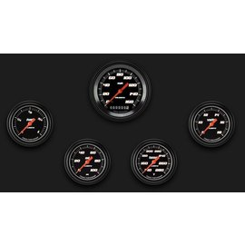 "Classic Instruments 5 Gauge Set - 3 3/8"" Speedo, 2 5/8"" Full Sweep FOTV - Velocity Black Series"