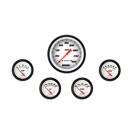 "Classic Instruments 5 Gauge Set - 4 5/8"" Speedo, 2 5/8"" Short Sweep FOTV - Velocity White Series"