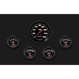 "Classic Instruments 5 Gauge Set - 4 5/8"" Speedo, 2 5/8"" Short Sweep FOTV - Velocity Black Series"