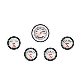 "Classic Instruments 5 Gauge Set - 3 3/8"" Speedo, 2 5/8"" Short Sweep FOTV - Velocity White Series"