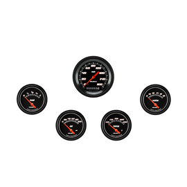 "Classic Instruments 5 Gauge Set - 3 3/8"" Speedo, 2 5/8"" Short Sweep FOTV - Velocity Black Series"