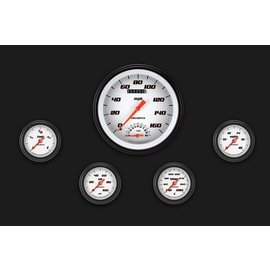 "Classic Instruments 5 Gauge Set - 4 5/8"" Speedtachular, 2 1/8"" Full Sweep FOTV - Velocity White Series - VS165WBLF"