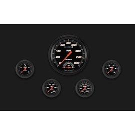 "Classic Instruments 5 Gauge Set - 4 5/8"" Speedtachular, 2 1/8"" Full Sweep FOTV - Velocity Black Series - VS165BBLF"