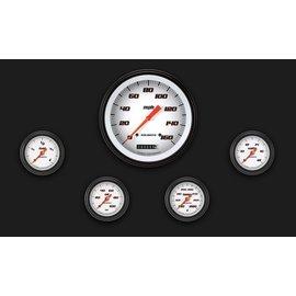 "Classic Instruments 5 Gauge Set - 4 5/8"" Speedo, 2 1/8"" Full Sweep FOTV - Velocity White Series"