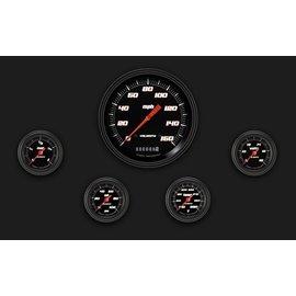 "Classic Instruments 5 Gauge Set - 4 5/8"" Speedo, 2 1/8"" Full Sweep FOTV - Velocity Black Series"