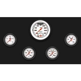 "Classic Instruments 5 Gauge Set - 3 3/8"" Ultimate Speedo, 2 1/8"" Full Sweep FOTV - Velocity White Series - VS135WBLF"