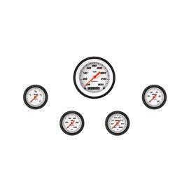 "Classic Instruments 5 Gauge Set - 3 3/8"" Speedo, 2 1/8"" Full Sweep FOTV - Velocity White Series"
